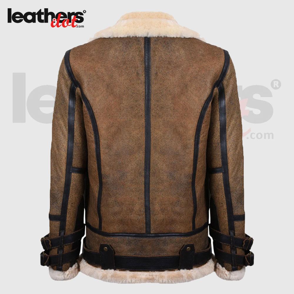 Aviator Vintage Pilot Flying Sheepskin Leather Brown Jacket For Men