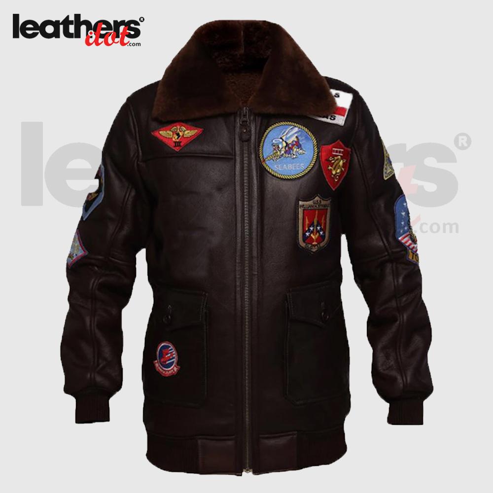 B3 Dark Brown Shearling Top Gun Jacket for Men