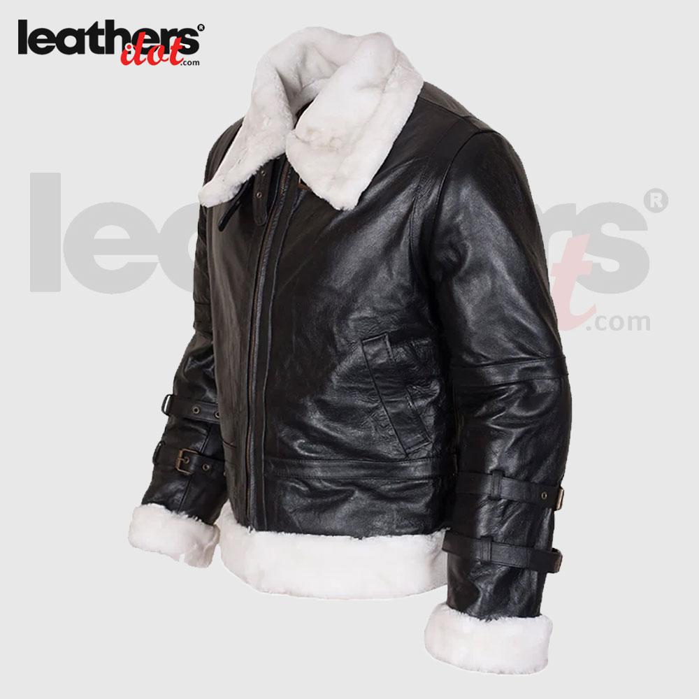 B3 Fur Aviator Shearling Leather Jacket Coat