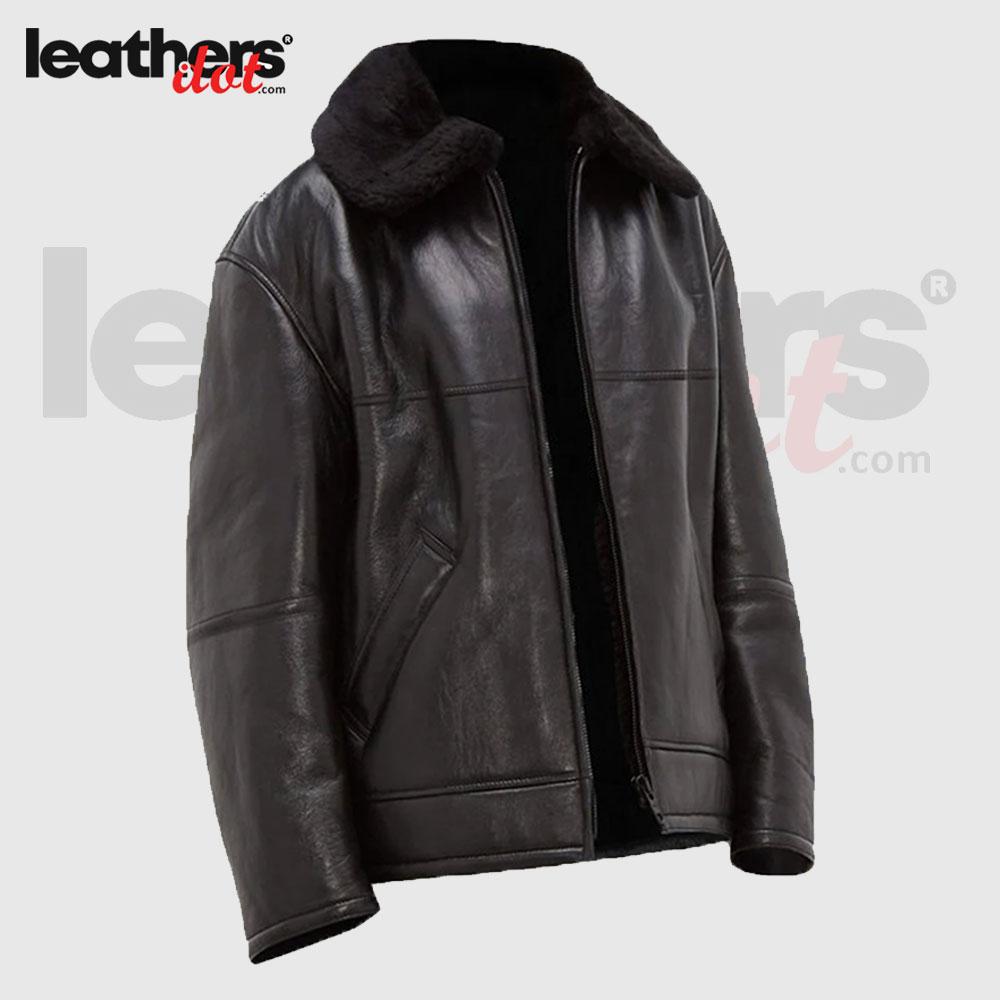 Black B3 Genuine Sheepskin Leather Jacket For Men