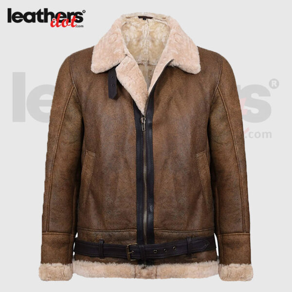 B3 Shearling Light Brown Aviator Flying Leather Jacket for Men