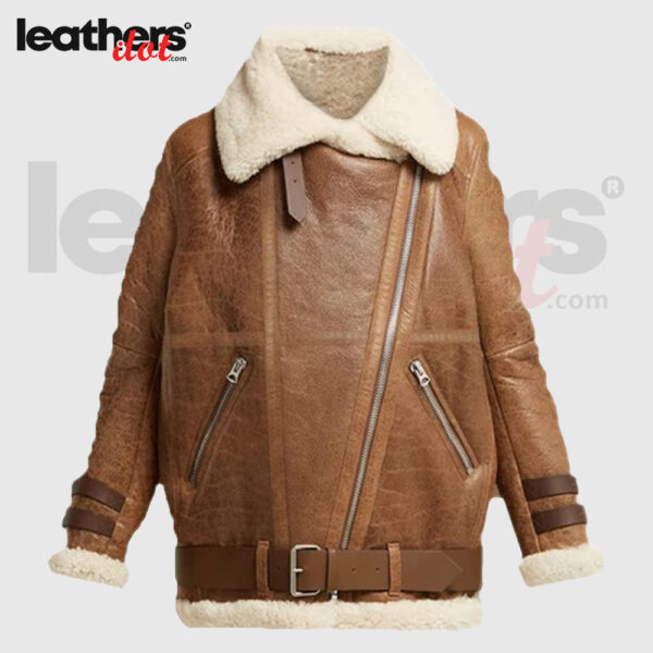 B3 Winter Light Brown Women Faux Shearling Jacket