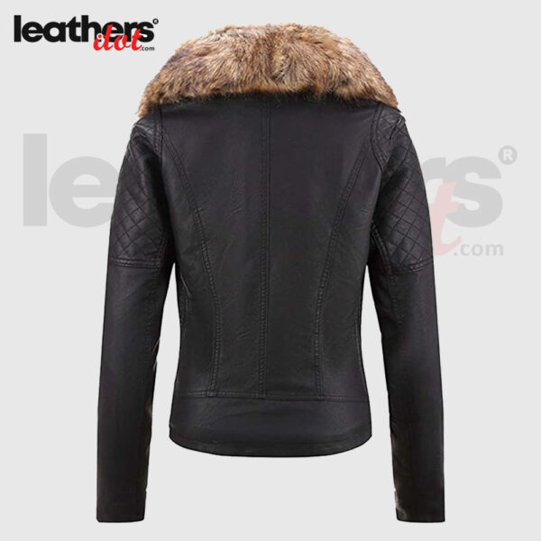 Womens Faux Fur Collar Winter Bellivera Leather Jacket