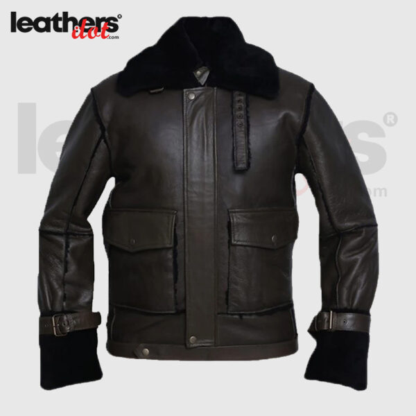Black Bomber Shearling Real Jacket for Men