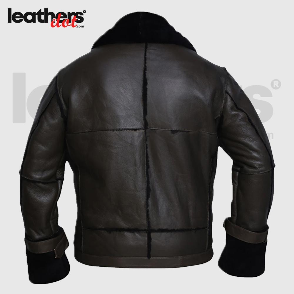 Black Bomber Shearling Real Jacket for Men