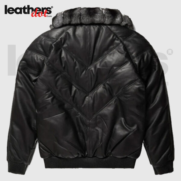 Chinchilla Fur Collar V Bomber Real Leather Black Jacket