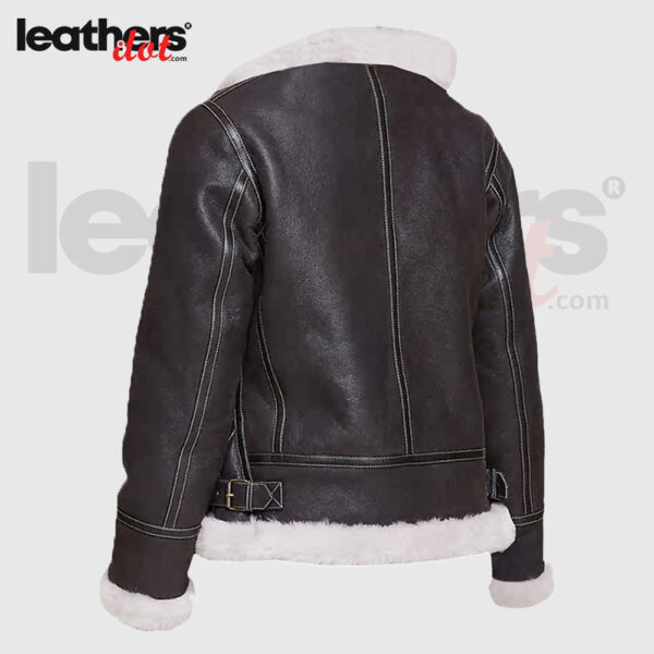 Black Sheepskin Shearling Jacket with Hoodie