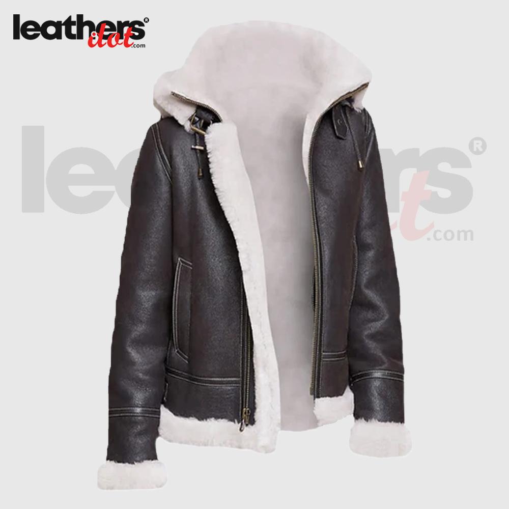 Black Sheepskin Shearling Jacket with Hoodie