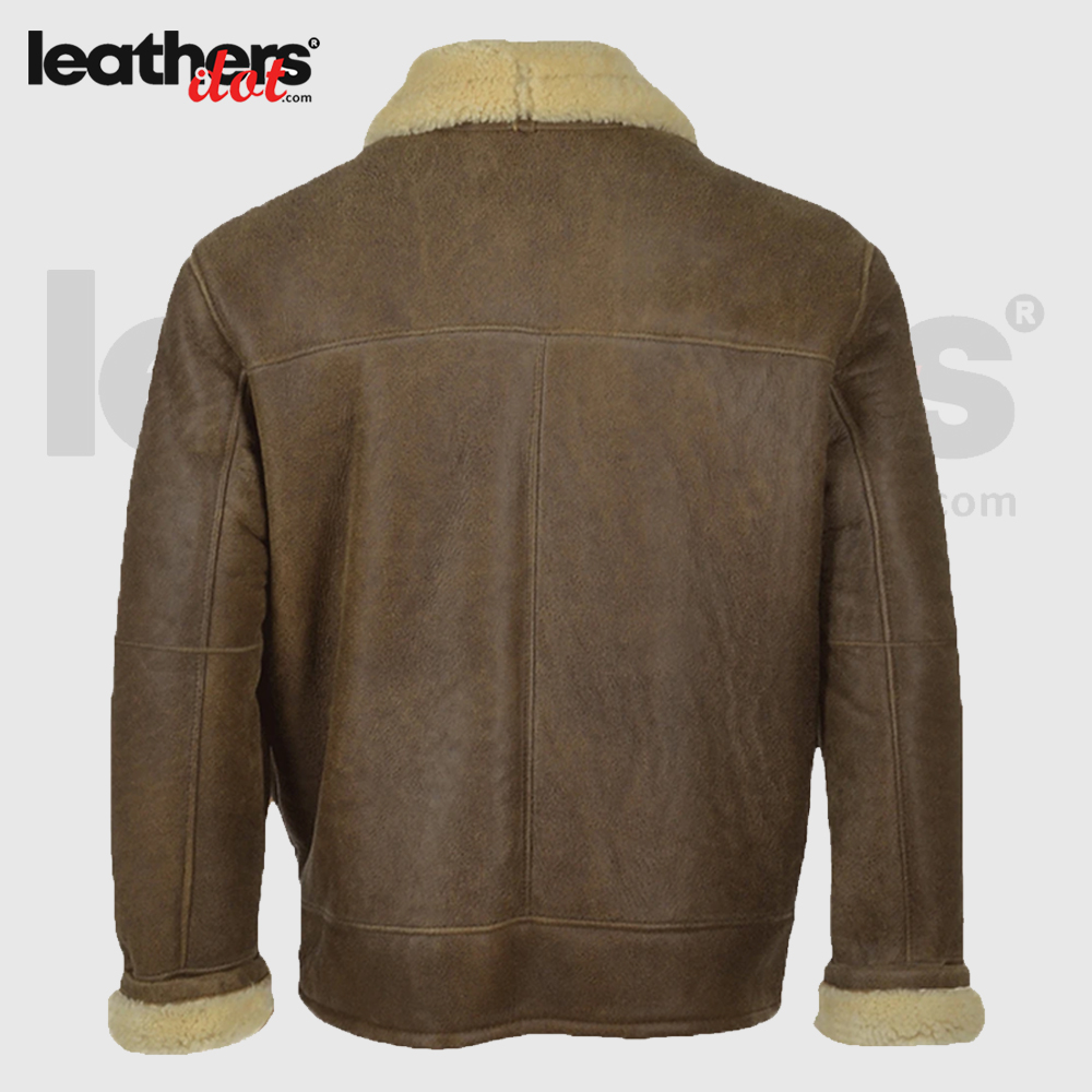 Brown Aviator Shearling Bomber Leather Jacket For Men