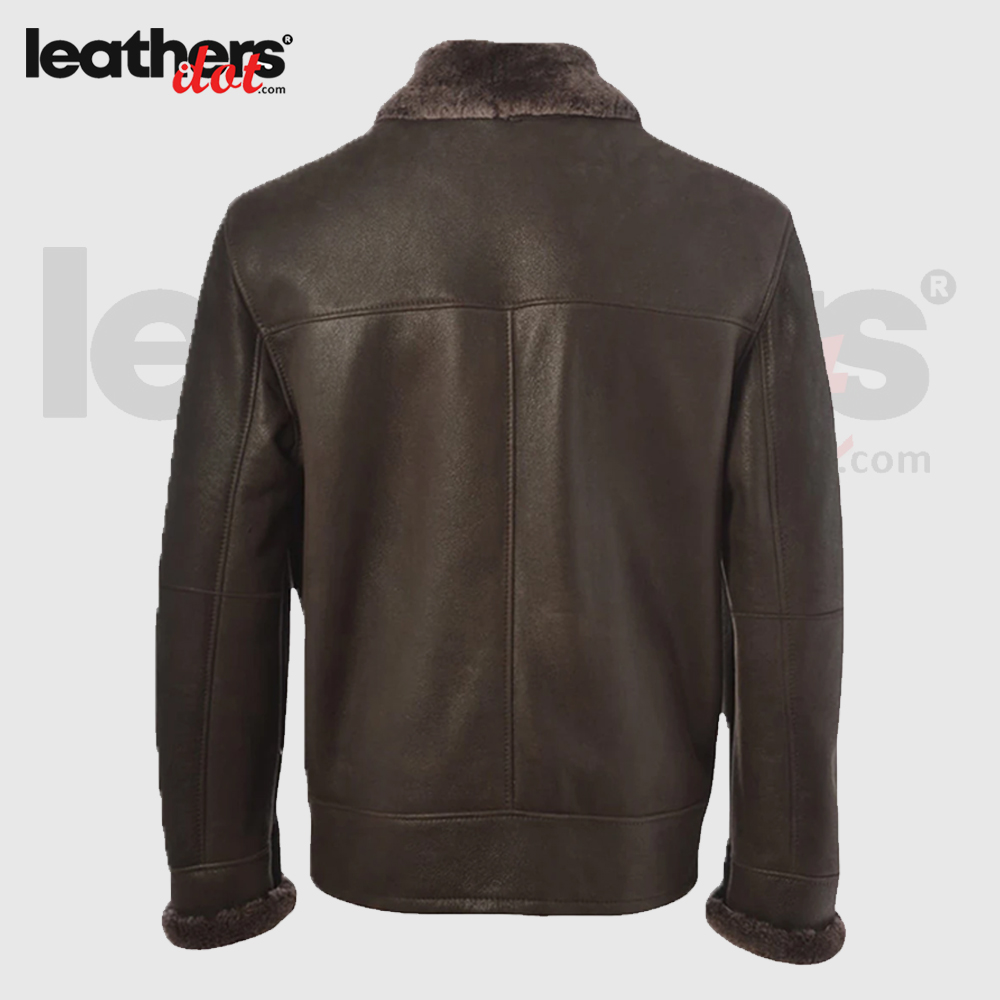 Dark Brown B3 Shearling Pure Leather Jacket