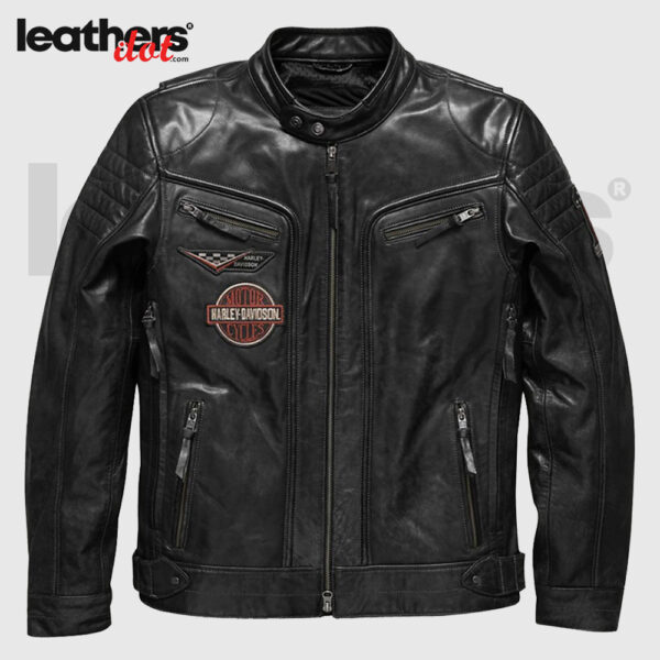 Embroidery Harley Davidson Motorcycle Biker Men Leather Jacket