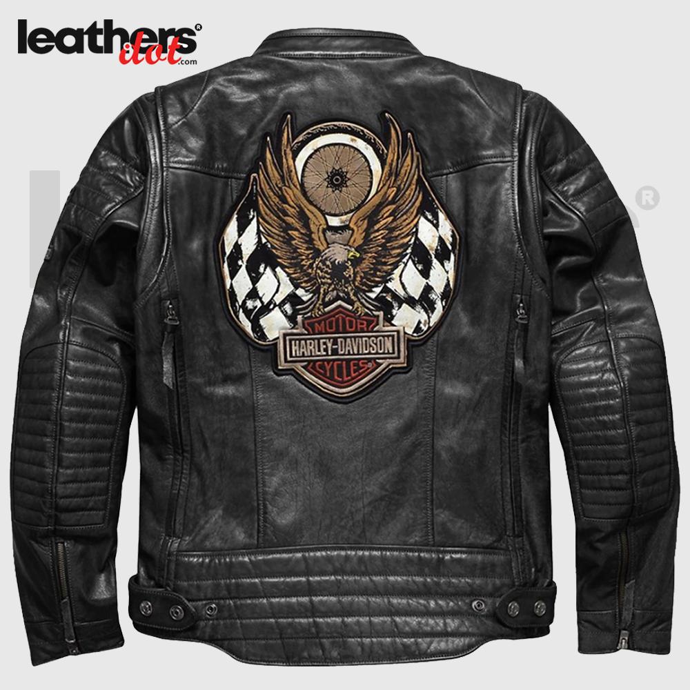 Embroidery Harley Davidson Motorcycle Biker Men Leather Jacket