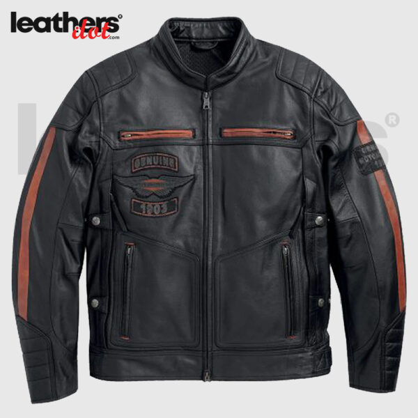 Harley Davidson Cowhide EXMOOR Reflective Wing Motorcycle Leather Jacekt