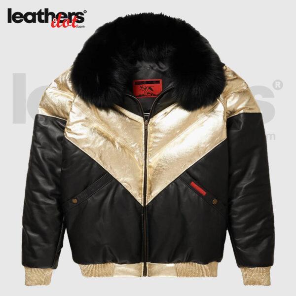 V-Bomber Fox Collar Premium Leather Jacket For Men