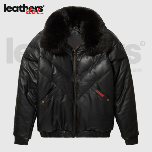Black V-Bomber Leather Fox Fur Collor Jacket
