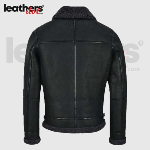 Men Aviator Bomber Air Force Shearling Leather Jacket