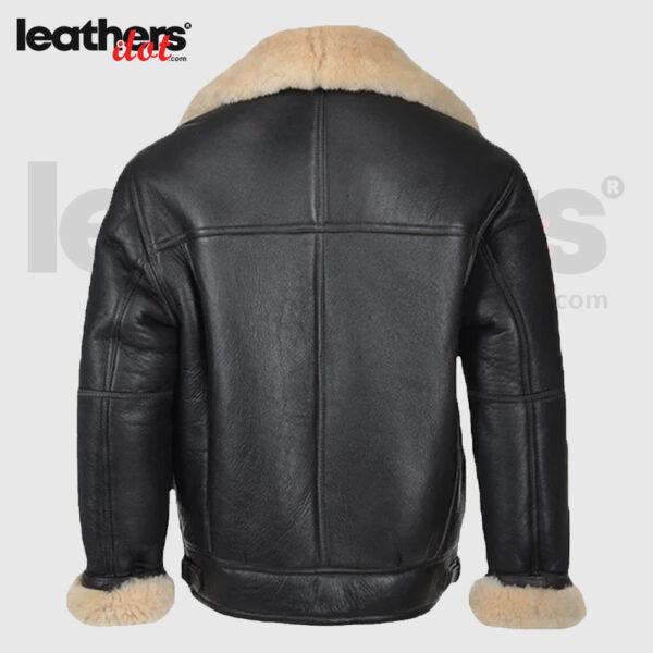Men B3 Black Shearling Bomber Leather Jacket