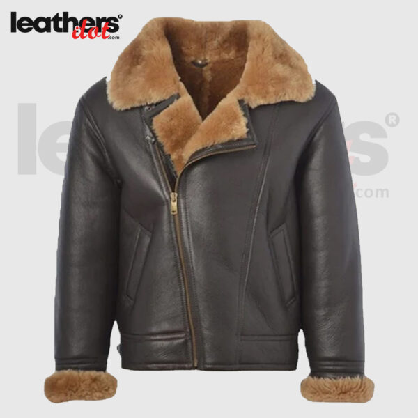 Men B3 Bomber Shearling Real Leather Jacket