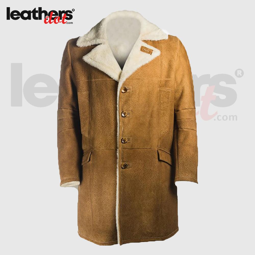 Men B3 Brown Distressed Sheepskin Real Leather Long Coat