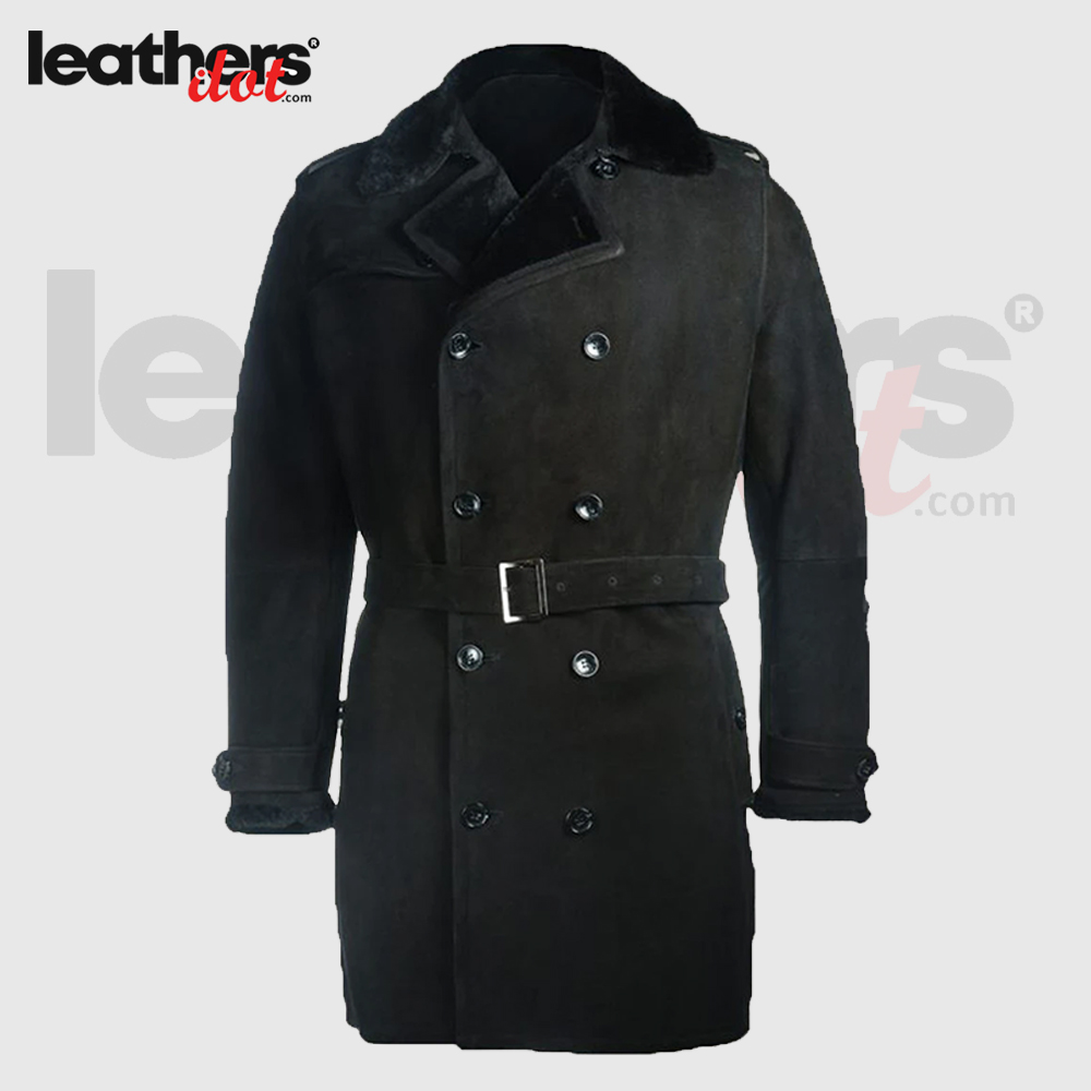 Men Black Shearling Sherpa Trench Leather Coat