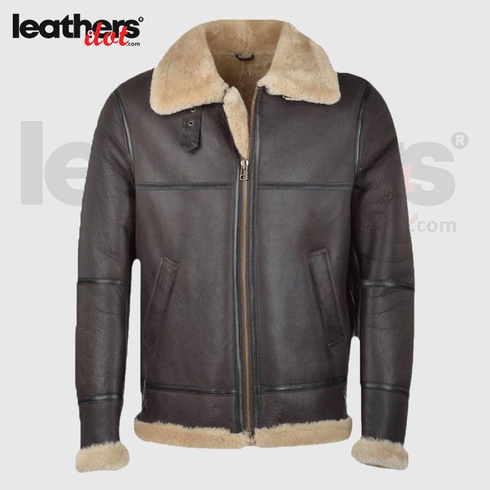 Men Brown RAF Shearling Leather Jacket