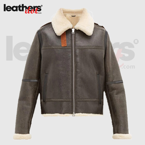 Men Brown Shearling Aviator Real Leather Jacket