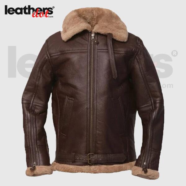 Men Brown Shearling Sheepskin Bomber Jacket