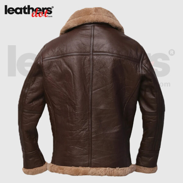 Men Brown Shearling Sheepskin Bomber Jacket
