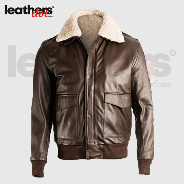 Men Brown Sheepskin Aviator Pilot Bomber Jacket