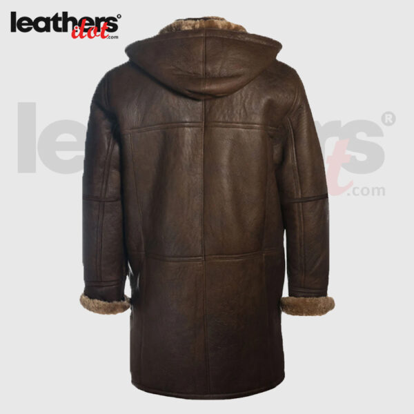 Men Brown Soft Faux Shearling Winter Coat with Hoodie