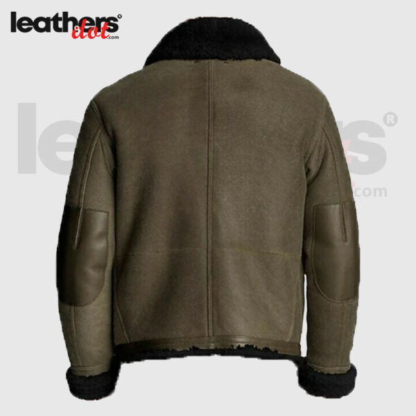 Men Classic Shearling Leather Trim Bomber Jacket