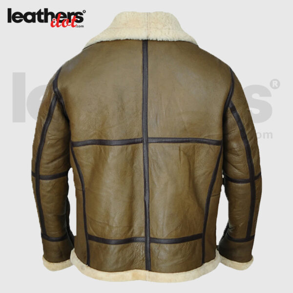 Men Greenish Brown Sheepskin Shearling Jacket