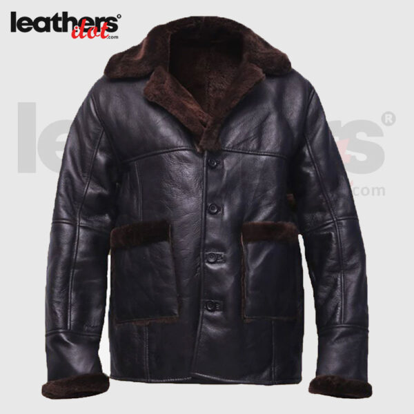 Men Open Cuffs B3 Pure Leather black Shearling Jacket