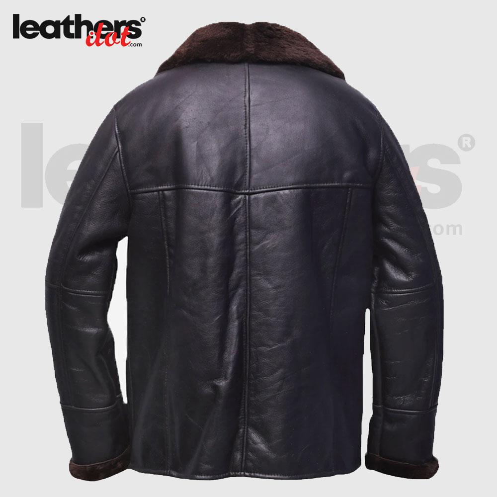 Men Open Cuffs B3 Pure Leather black Shearling Jacket