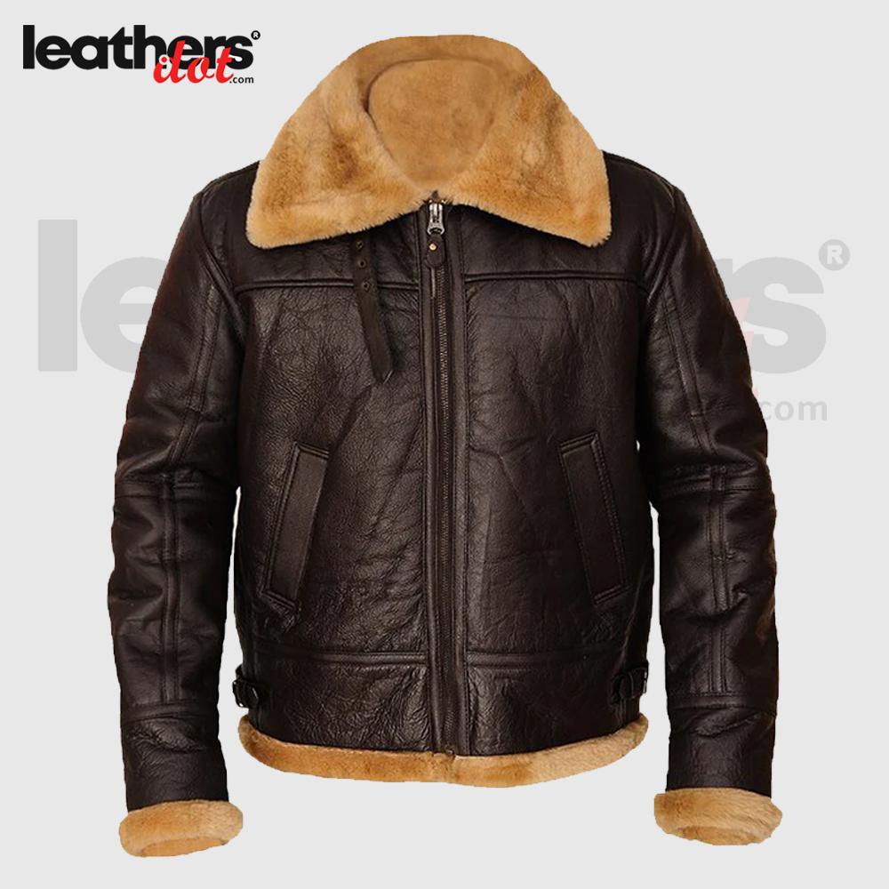 Men Real Shearling B3 Brown Leather Sheepskin Jacket