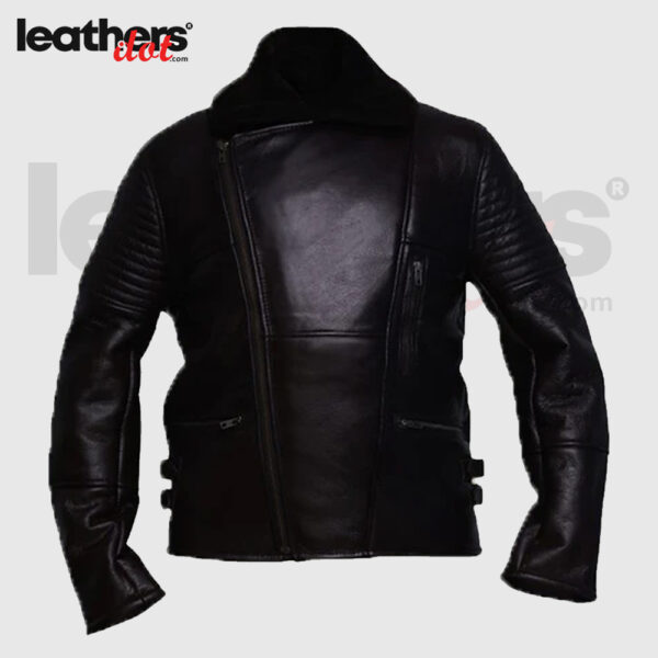 Men Sheepskin Black Shearling Rider Leather Jacket