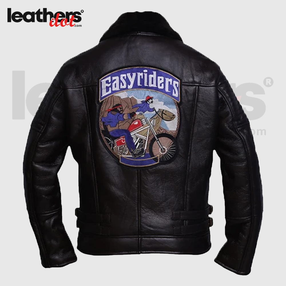 Men Sheepskin Black Shearling Rider Leather Jacket