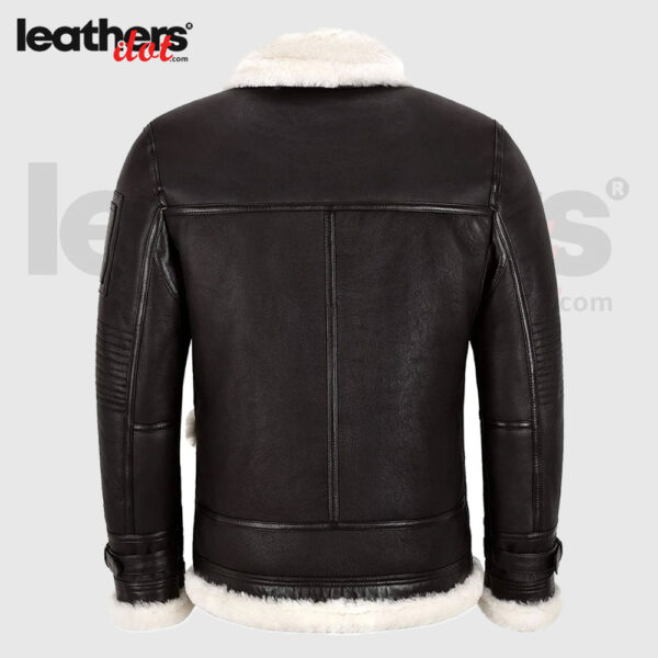 Men Sheepskin Flying Bomber Brown Jacket With Tanned Skins