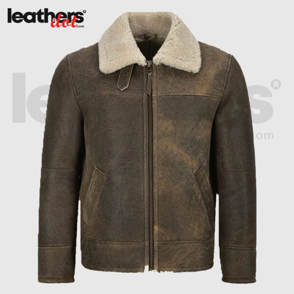 Men Vintage Brown Shearling Leather Jacket