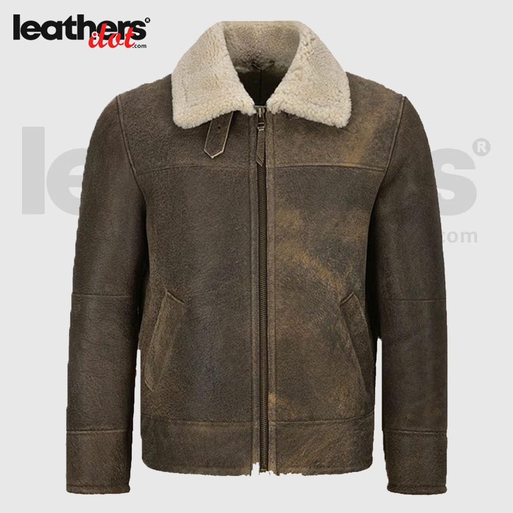 Men Vintage Brown Shearling Leather Jacket