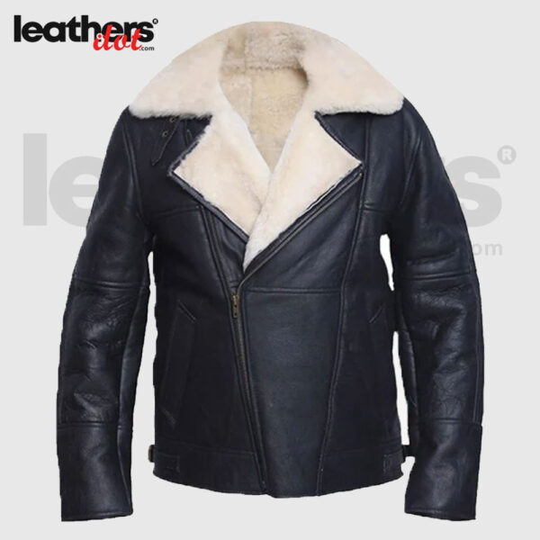 Men White Sheepskin Shearling Leather Jacket
