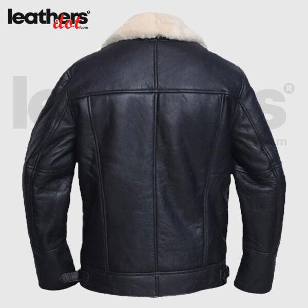 Men White Sheepskin Shearling Leather Jacket