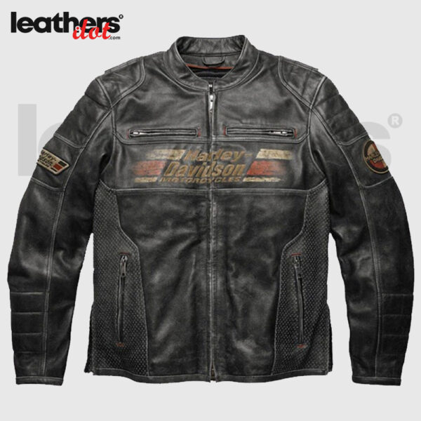 Men Harley Davidson Cruiser Orange Motorcycle Leather Jacket