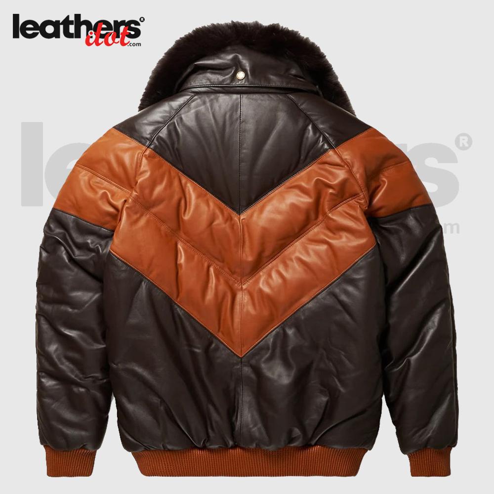 V-Bomber Down Goose Leather Jacket For Men