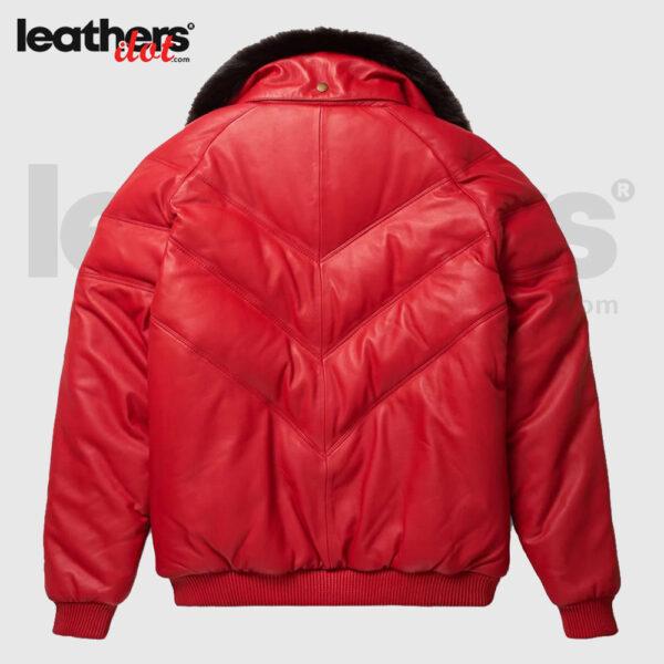 Red V-Bomber Down Goose Leather Jacket For Men