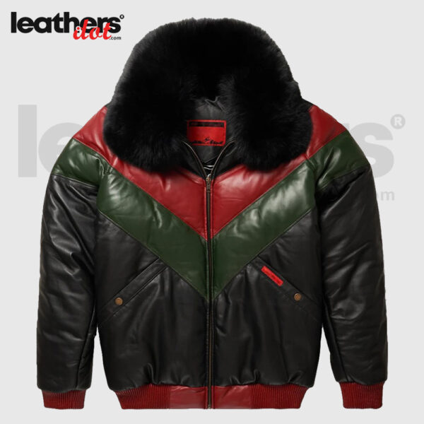 Premium Leather V-Bomber Red, Green & Black Jacket