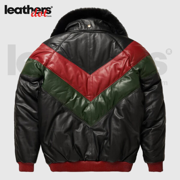Premium Leather V-Bomber Red, Green & Black Jacket