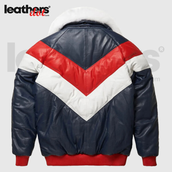 Down Goose Red and White V Bomber Leather Jacket