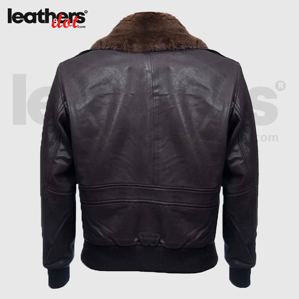 Rib Knit Hem Men Sheepskin Flight Bomber Leather Jacket for Men