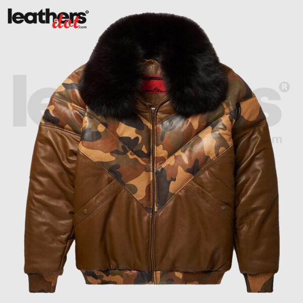 Men Brown Down Goose V-Bomber Leather Jacket
